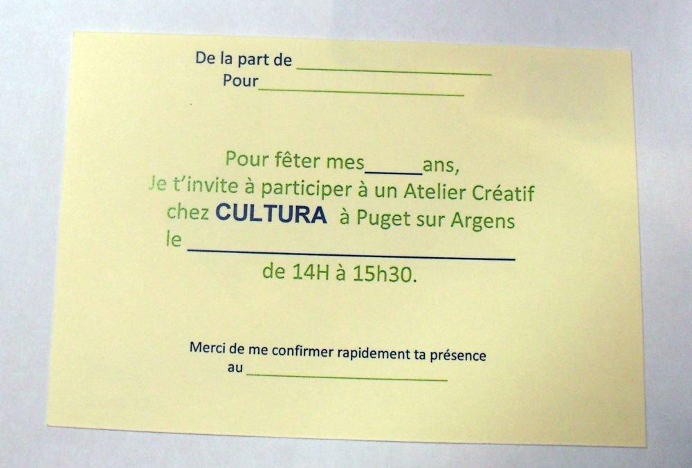 Carte D Invitation Pour Anniversaire Fete Chez Cul Cultura