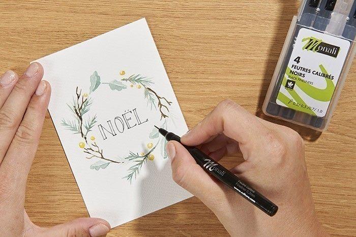 ETAPE 6/9 Ecrire votre texte avec un feutre fin fineliner.