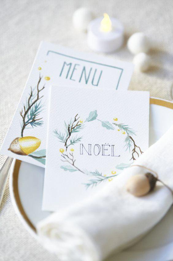 ETAPE 9/9 Vos cartes Menu sont prêtes pour décorer votre table de fête.