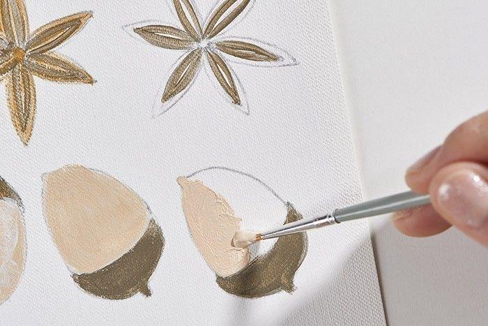 ETAPE 3/9 Pour peindre le gland, mélange le gris et l'or pour le chapeau et apporter des touches dorées pour la lumière. Mélanger l'or et le blanc pour le corps du gland, apporter des touches plus blanches pour la lumière et des touches dorées pour les ombres.