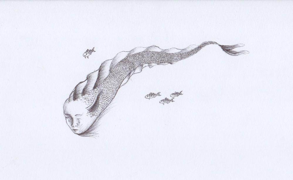 "Inktober 2020 - Poisson - ""Le poisson-larmes"" Stylo à bille - J1"