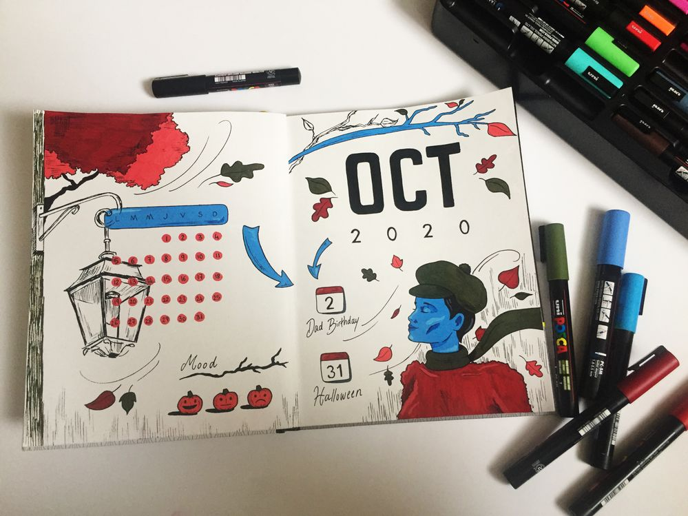Bullet Journal - OCT 2020 - Création Posca