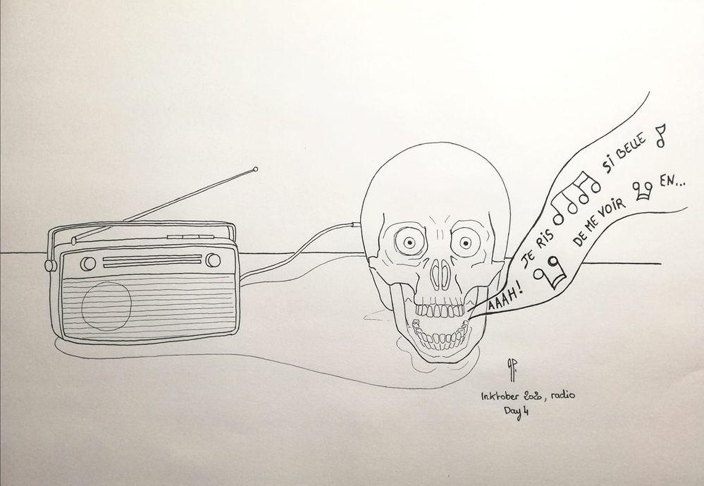 Inktober 2020 - Radio - Day 4 - Feutres Faber Castell
