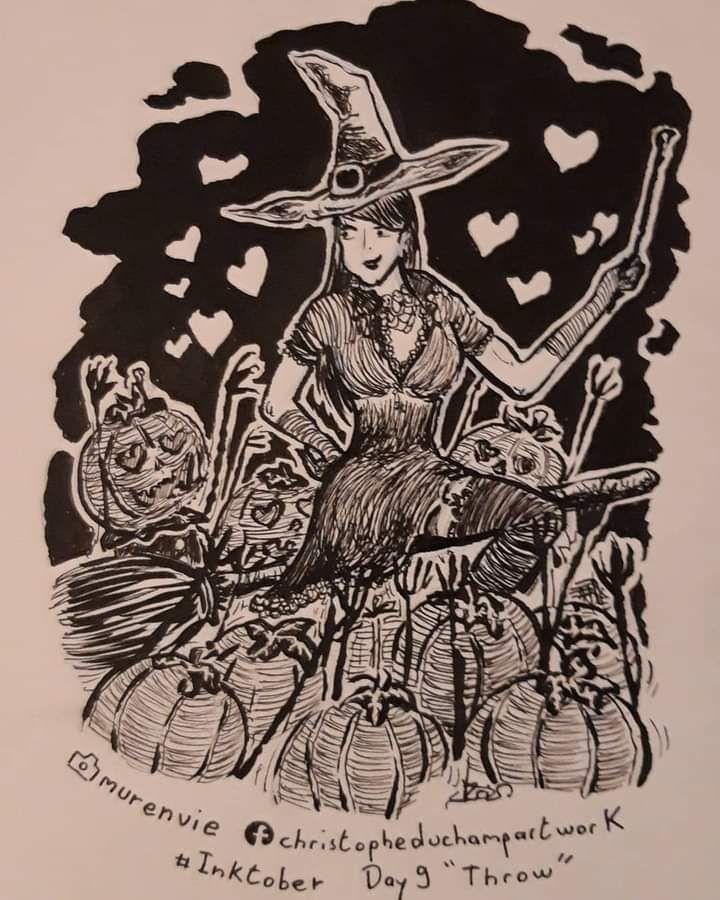 """Jour 9 """"throw"""" avec cette charmante sorcière qui vient de jeter un sort à  nos amies citrouille"""