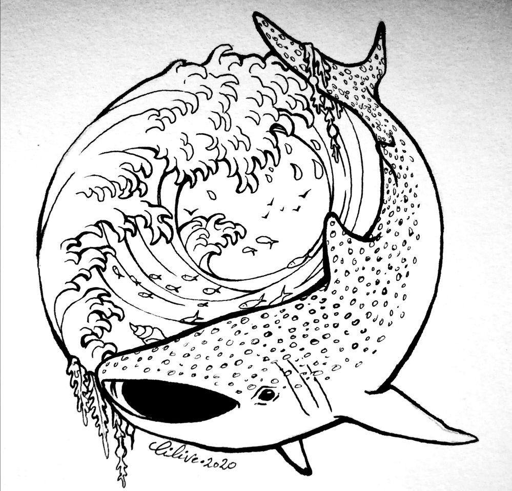 Des carpes koi m'aurait beaucoup plu mais tout le monde en fait... ;) Voici mon poisson, un requin baleine dans un océan tourbillonnant ! Day 1: Fish - Crayons Staedler + pentel