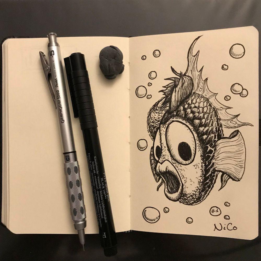 Inktober jour 1 : Fish