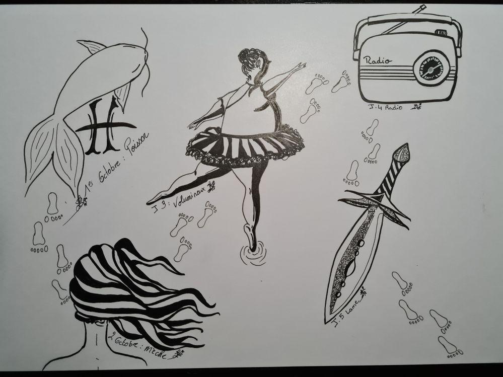 J 1 a 5: poisson, mèche, volumineux, radio, lame.