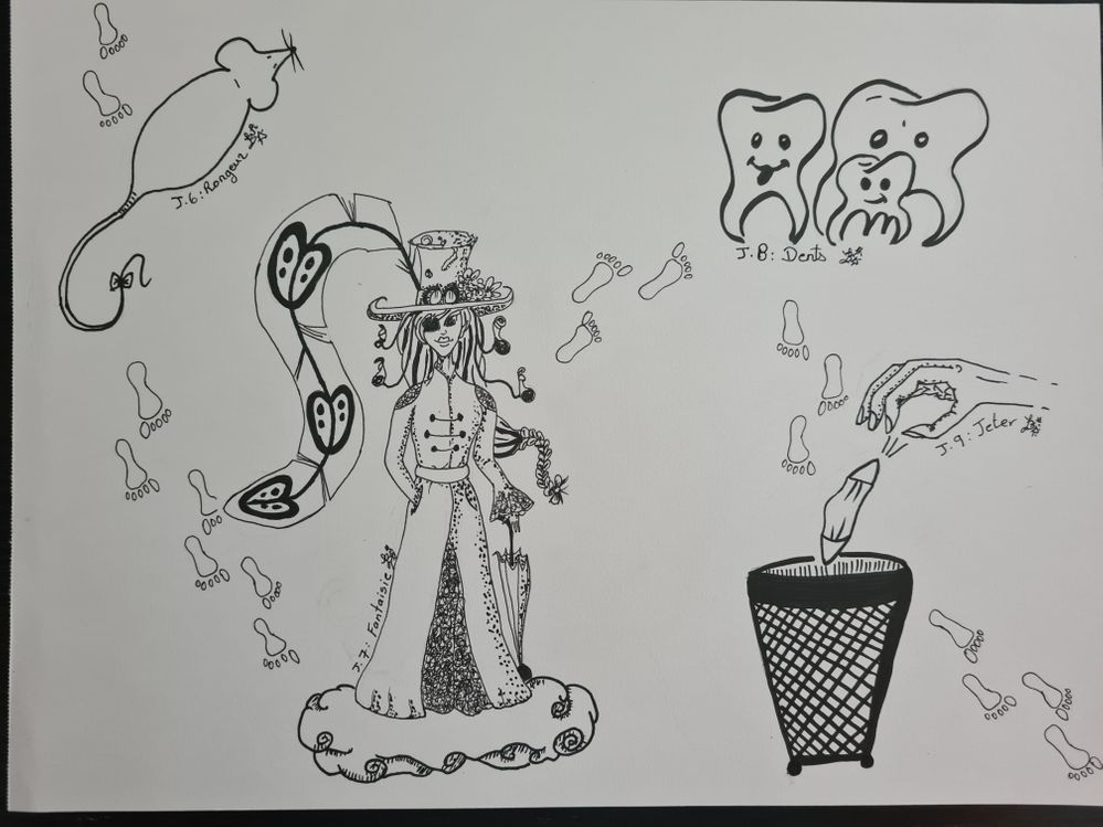 J 6 a 9: rongeur, fantaisie, dents, jetter.
