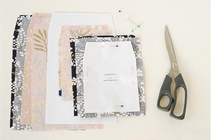 ETAPE 1/9 Télécharger et imprimer le gabarit des 2 pochettes. Les découper. Choisir 2 couleurs de tissu. Repasser. Epingler les patrons sur les tissus choisis. Découper. Pour chaque pochette, tout préparer en double.