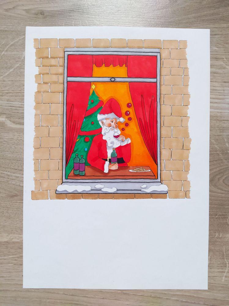 """""""Le père Noël attendant le déconfinement""""  Catégorie Adultes (20ans)     Instagram:  Thoughtspencils_      je poste tout mes dessins dessus ☺"""