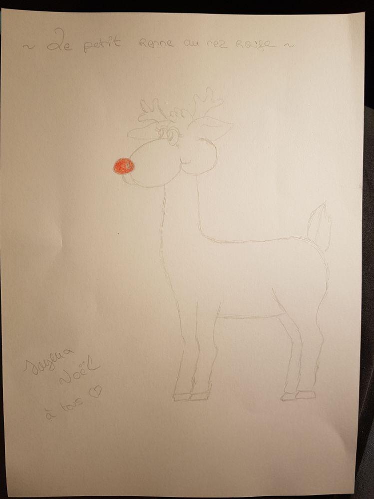 Catégorie Adulte, le petit renne de Noël au nez rouge. Le fait de ne colorier juste son nez rouge est volontaire, car c'est vraiment ce qui caractérise ce renne ❤