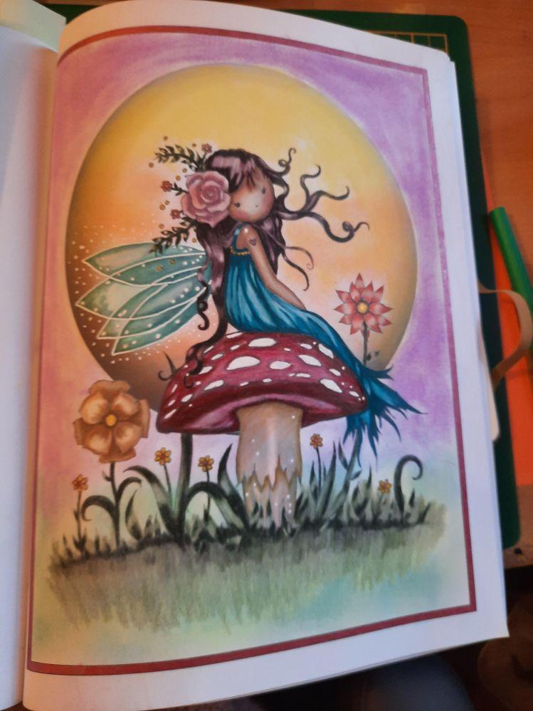 Pastel tendre, posca, stylo gel pailleté, crayons de couleur sur livre de coloriages M. Harrison.