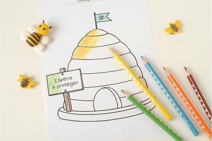 ETAPE 6/7 Télécharger le coloriage de la ruche, l'imprimer et le colorier.