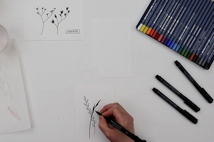 ETAPE 2/9 Varier les formes végétales et adapter, selon le dessin, le choix de la pointe des feutres.