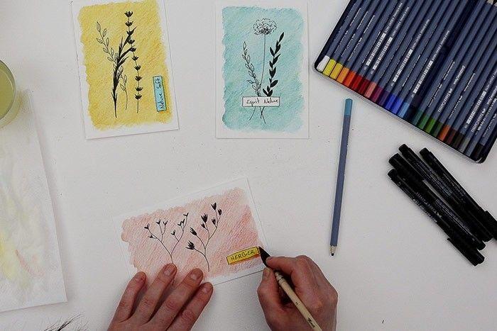 ETAPE 8/9 : OMBRE DE L'ÉTIQUETTE Colorer l'ombre de l'étiquette avec la même couleur dominante du fond en forçant le trait. Passer le pinceau humide sur l'étiquette puis sur l'ombre.