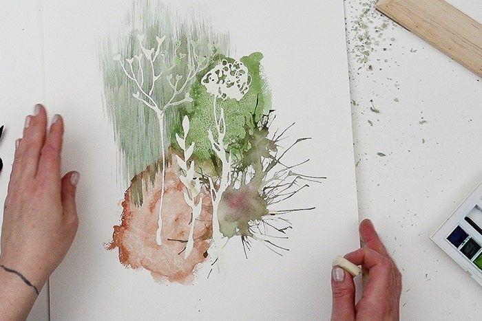 Etape 8/9 : Retirer le drawing gum Avec le doigt ou avec une gomme blanche, retirer tout le drawing gum en gommant, et comme par magie, tout le dessin de l'herbier apparaît en blanc.