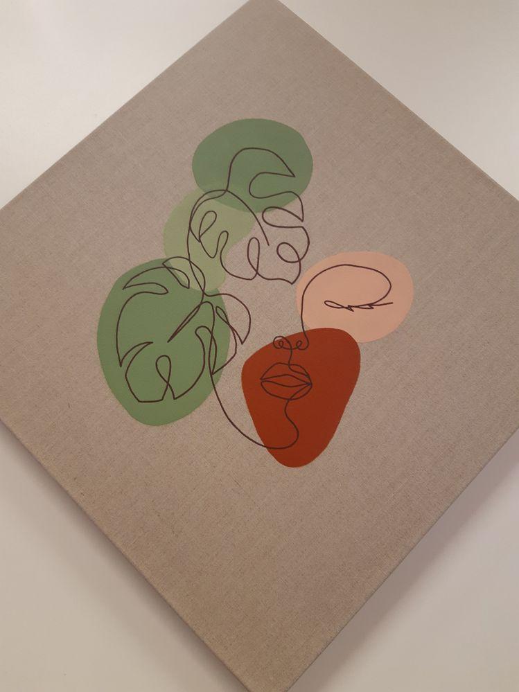 Voici ma version du Line Art sur toile en lin, avec de la peinture acrylique et un feutre Posca