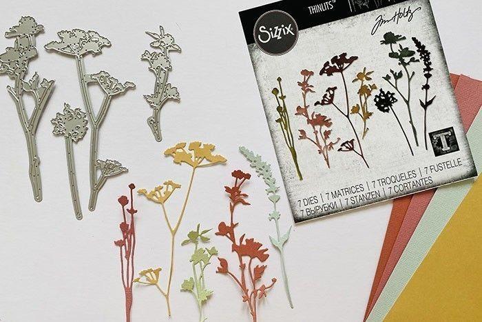 Etape 2 : Découpez tous les éléments de la matrice Fleurs Sauvages plusieurs fois sur le papier cartonné multicolore.