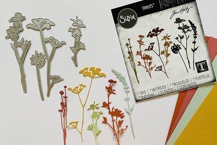 Etape 1 : Découpez tous les éléments de la matrice Fleurs Sauvages plusieurs fois sur le papier cartonné multicolore.