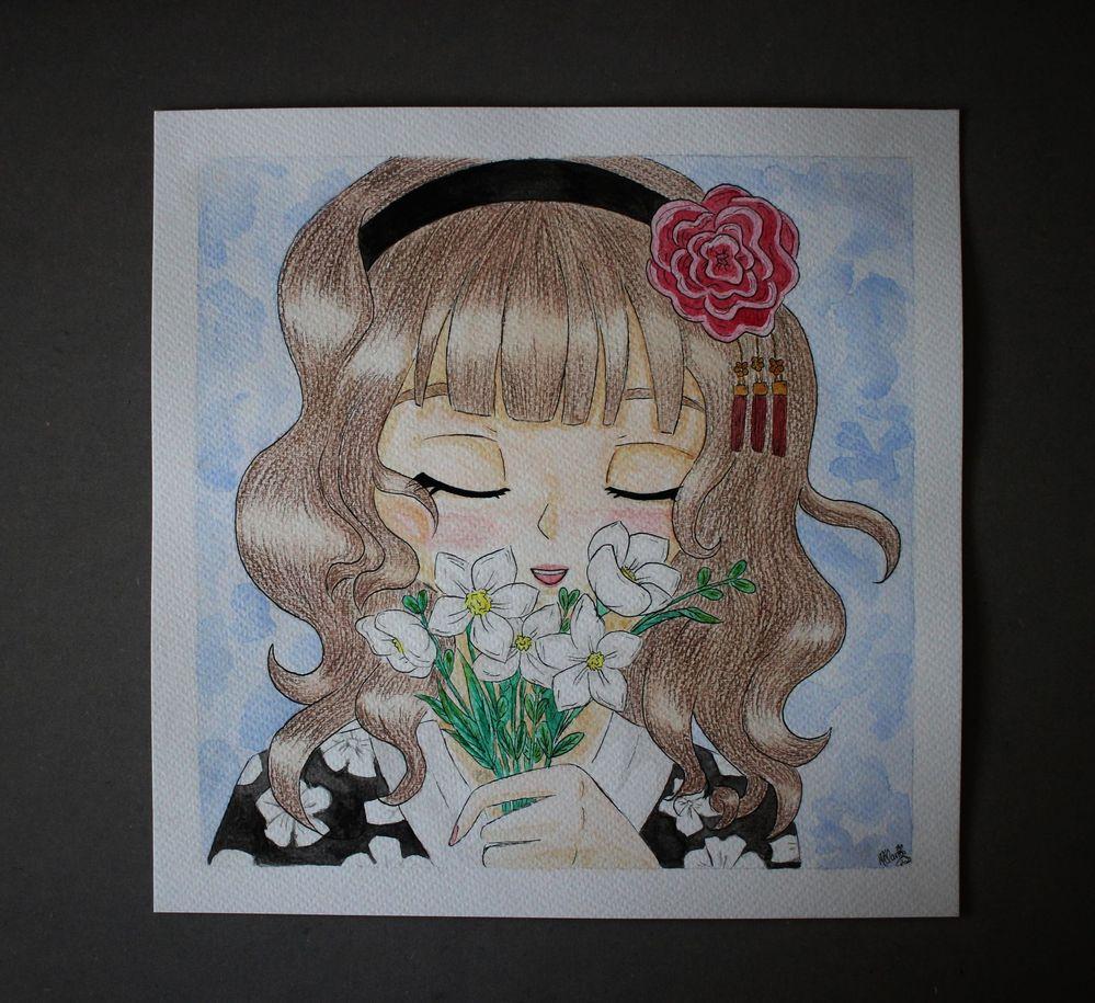 Jeune Geisha aux fleurs