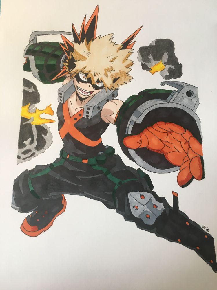 dessin au Promarkers Bakugo My Hero Academia
