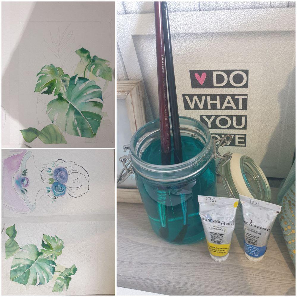 Diy:  À la place d'utiliser un vieux gobelet plastique pour diluer la peinture dans l'eau j'utilise un pot en verre style conserve,bocaux