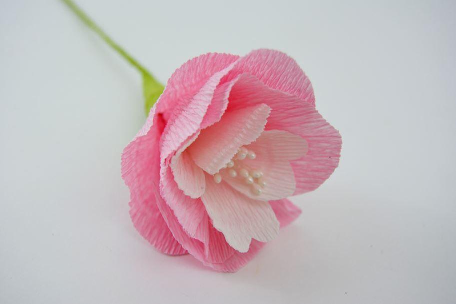 """Les fleurs : Créer un bouquet de fleurs en papier crépon à l'aide des pas à pas expliqués dans le livre """"Fleurs en papier - Plus de 30 fleurs en papier"""". Varier les couleurs de papier pour créer de jolies fleurs bicolores."""