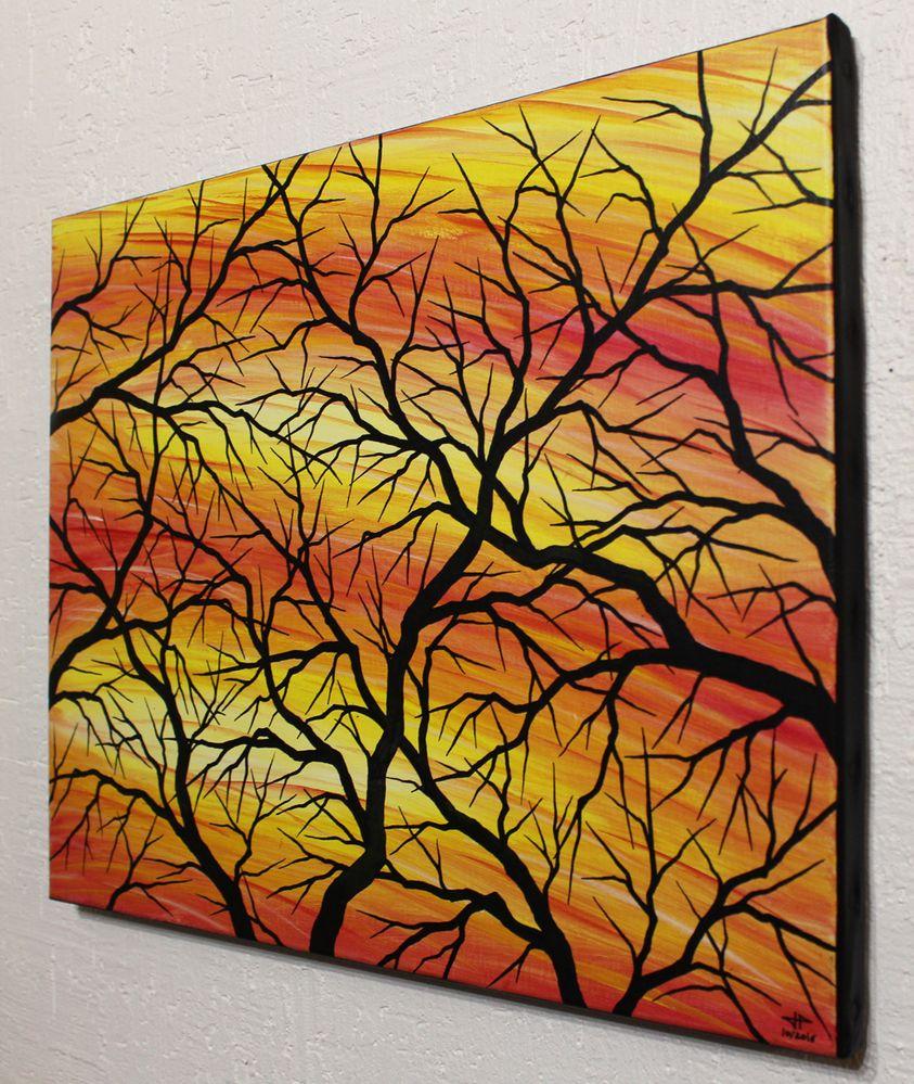 Tableau contemporain : Silhouettes de branches, vue de gauche.