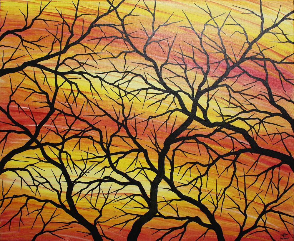 Tableau contemporain : Silhouettes de branches.