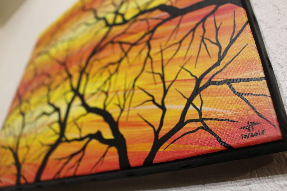 Tableau contemporain : Silhouettes de branches, vue détaillée.