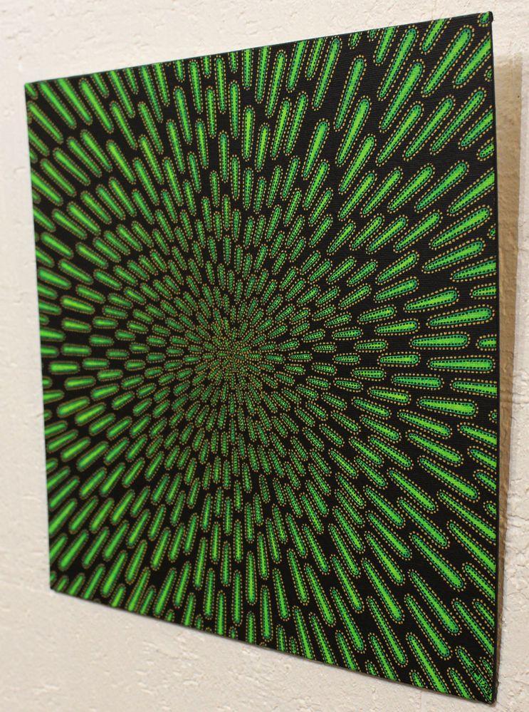 Tableau moderne : Particule verte, vue de droite.