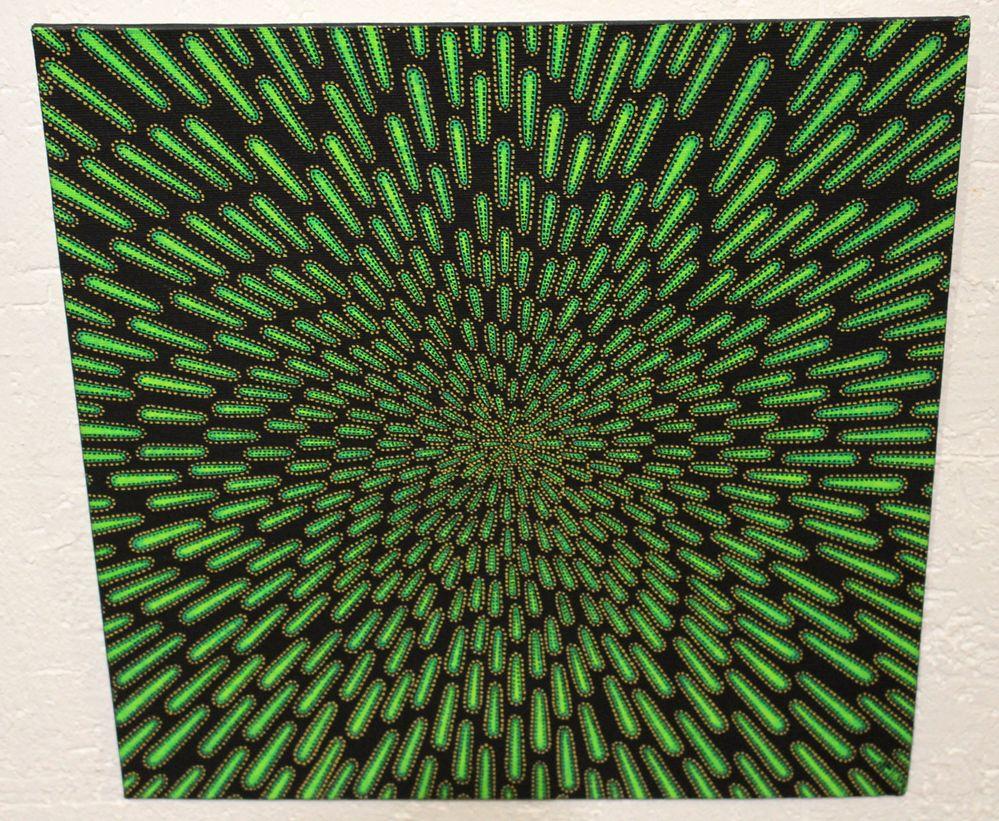 Tableau moderne : Particule verte, vue d'au dessus.