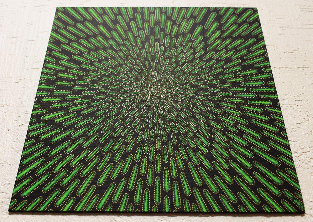Tableau moderne : Particule verte, vue d'en dessous.