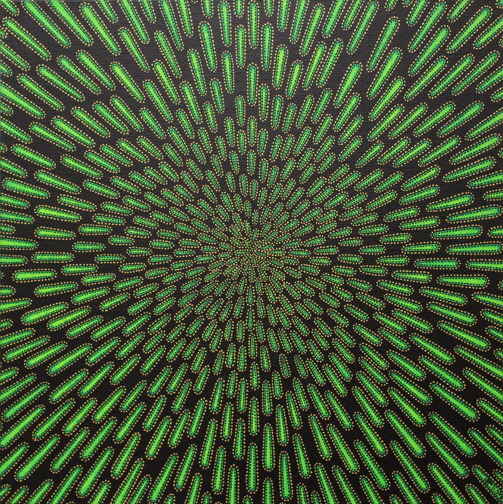 Tableau moderne : Particule verte.