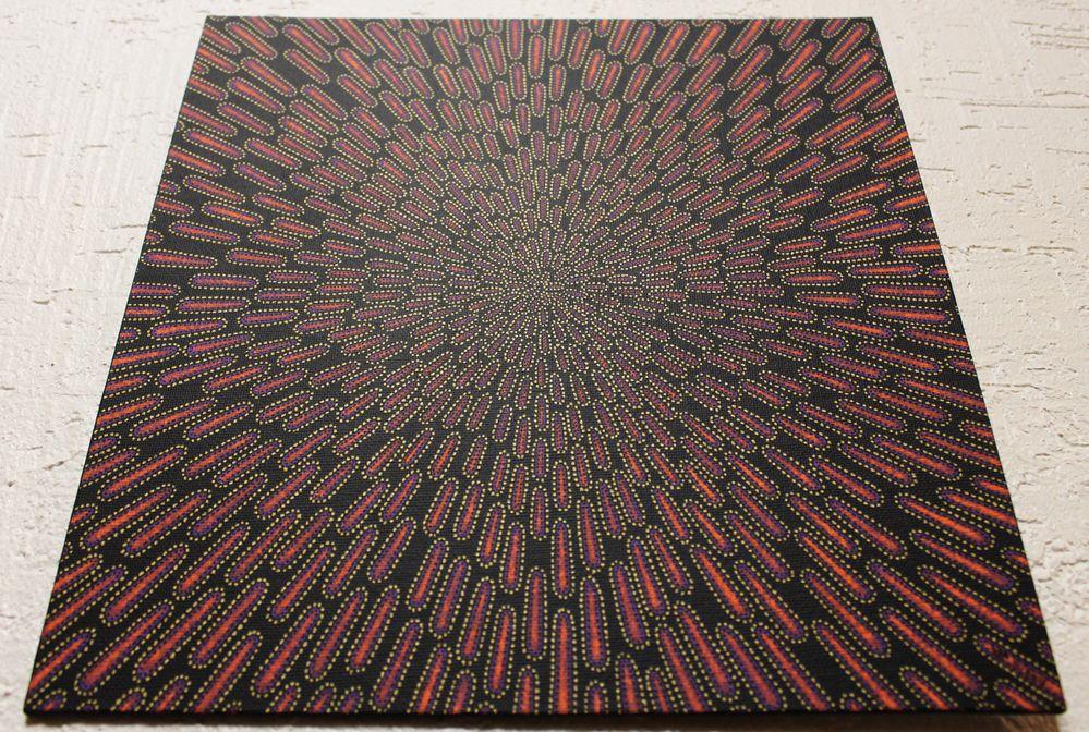 Tableau moderne : Particule violacée, vue d'en bas.