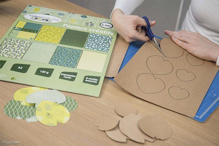 1- Choisir les papiers imprimés A3 et les découper en deux pour former deux A4. Reporter et découper les gabarits des feuilles de la plante au dos des papiers imprimés et du papier kraft.