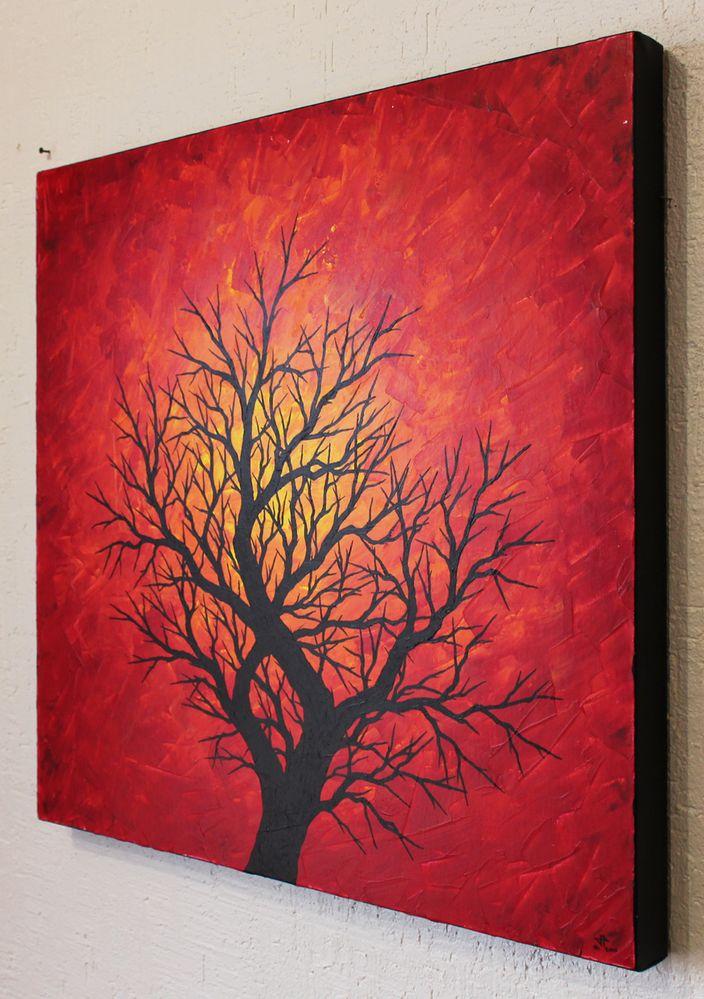 Tableau moderne : Silhouette d'arbre chaleureux. - Cultura