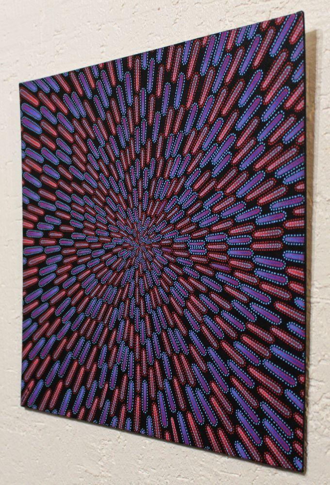 Tableau moderne : Particule bleue et rouge, vue de droite.