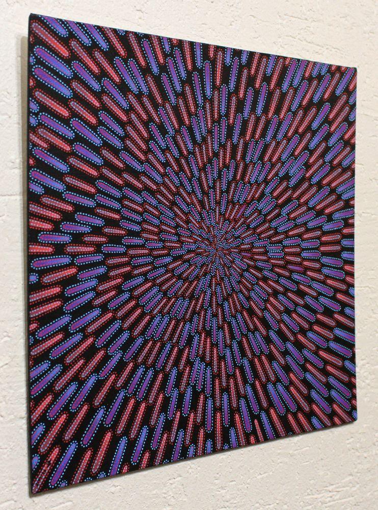 Tableau moderne : Particule bleue et rouge, vue de gauche.