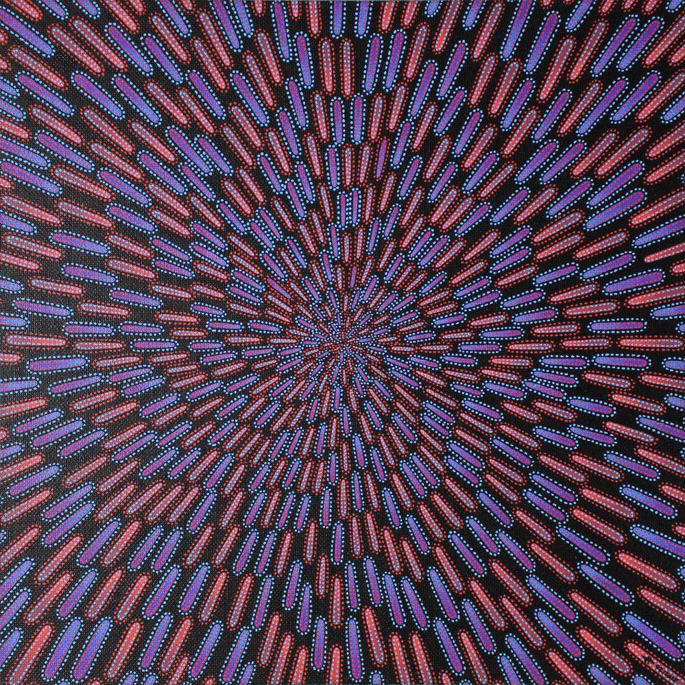 Tableau moderne : Particule bleue et rouge.