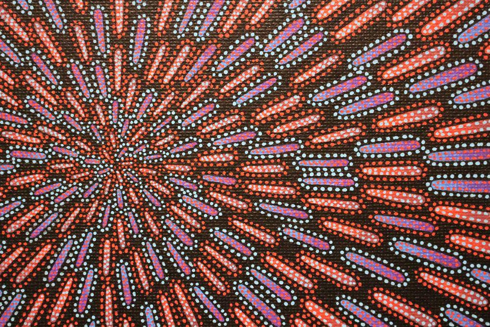 Tableau moderne : Particule bleue et rouge, vue détaillée.