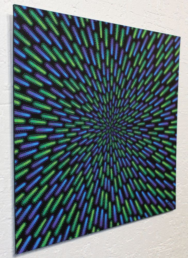 Tableau moderne : Particule verte et violette, vue de gauche.