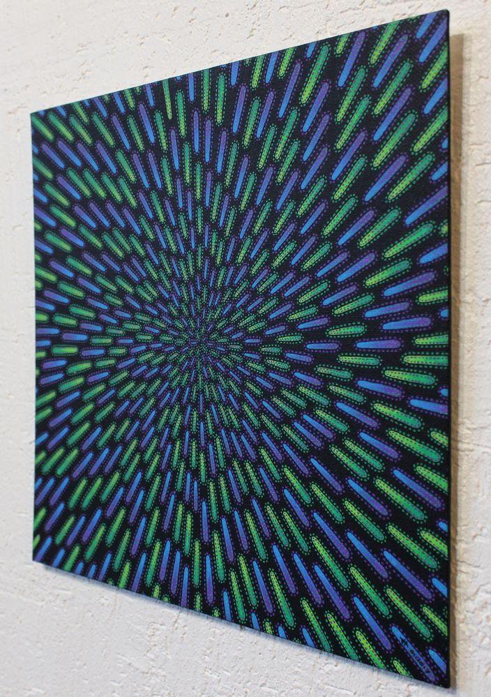 Tableau moderne : Particule verte et violette, vue de droite.