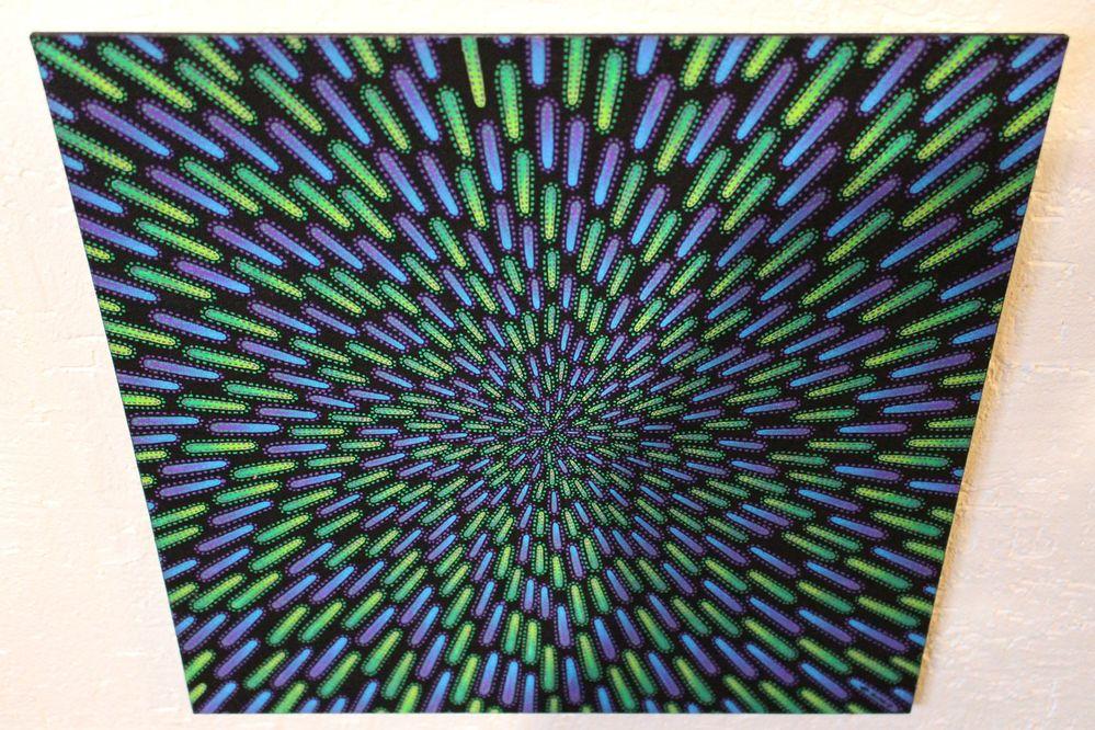 Tableau moderne : Particule verte et violette, vue d'au dessus.