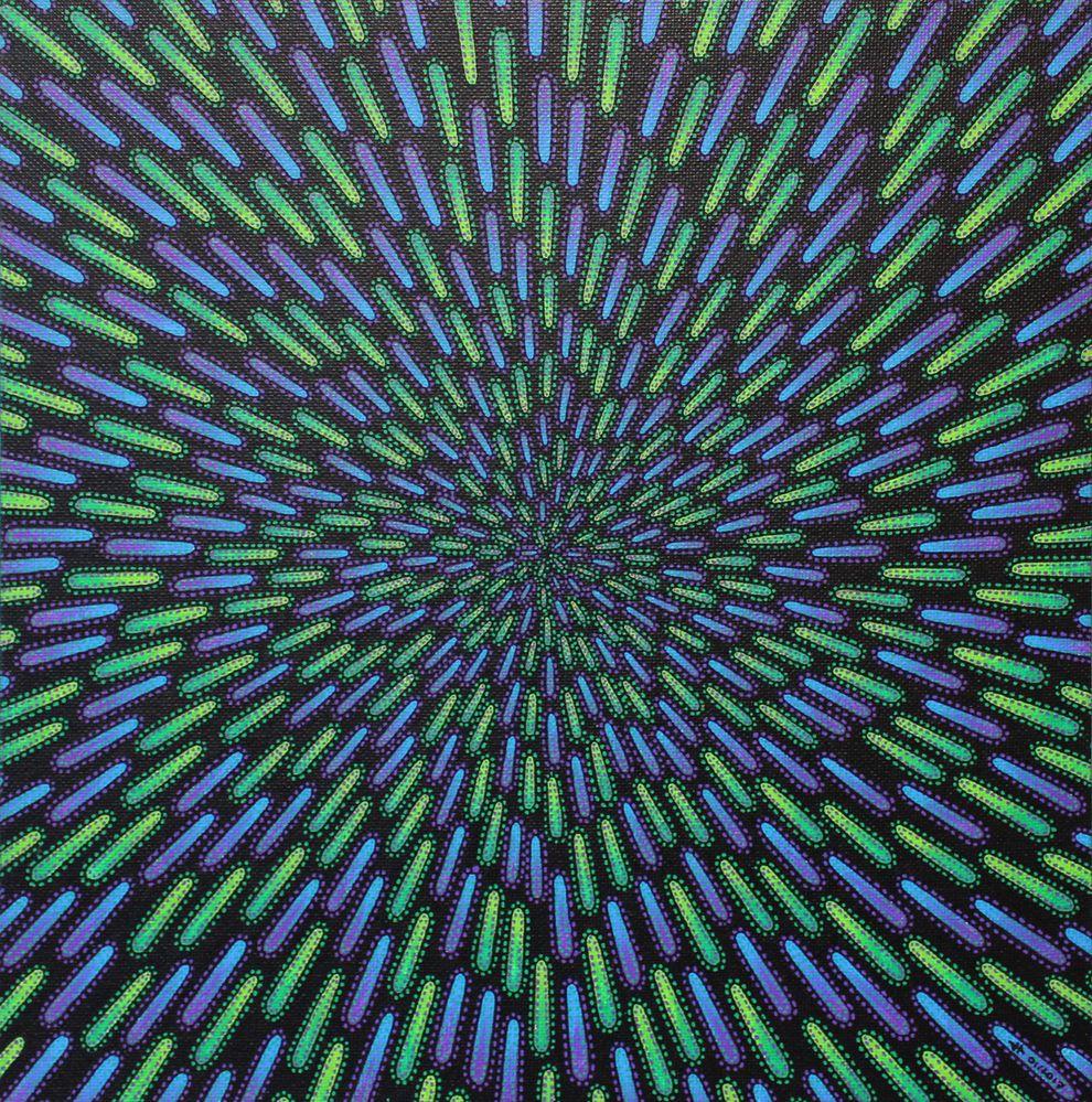 Tableau moderne : Particule verte et violette.