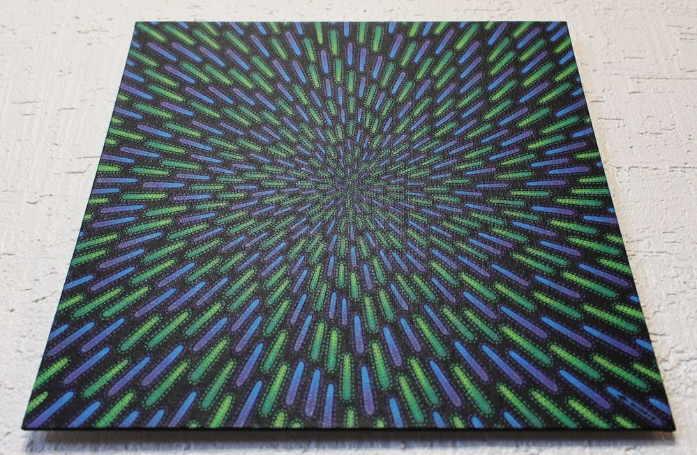 Tableau moderne : Particule verte et violette, vue d'en dessous.