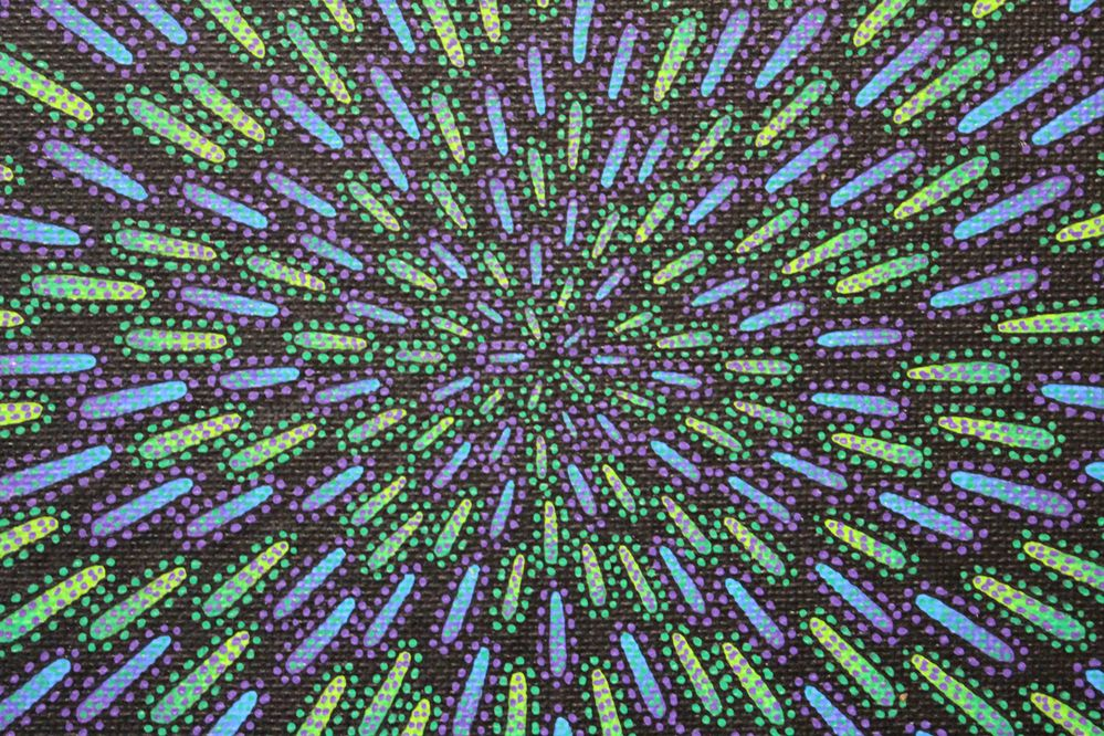 Tableau moderne : Particule verte et violette, vue détaillée.