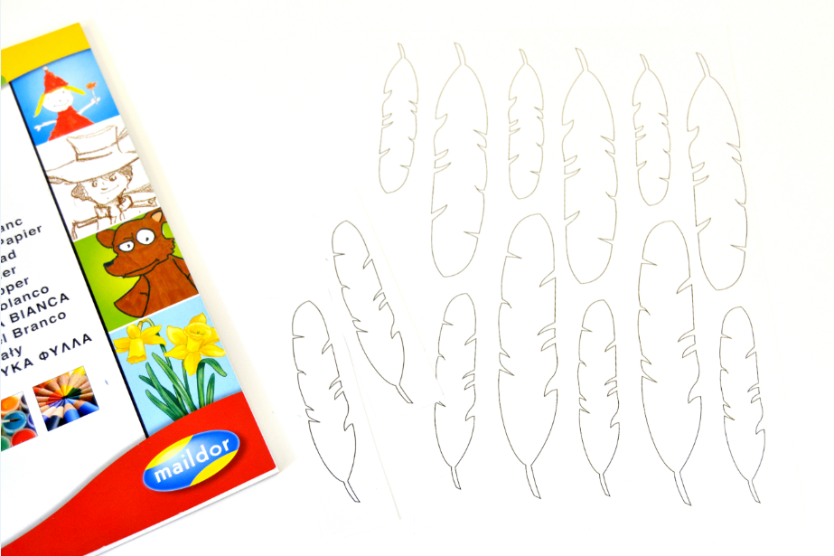 1. Télécharger et imprimer le gabarit des plumes sur notre site www.cultura.com.  Utiliser une feuille du bloc de papier en 160g. Pour imprimer les plumes. Les découper.