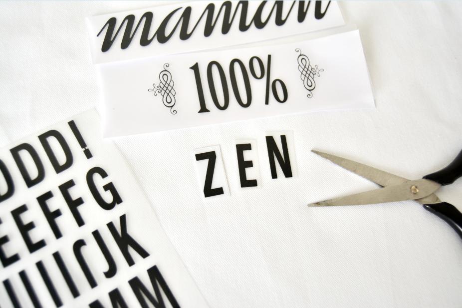 1. Découper dans les planches thermocollantes les différents mots, graphismes et lettres de l'alphabet pour écrire le mot « zen ».