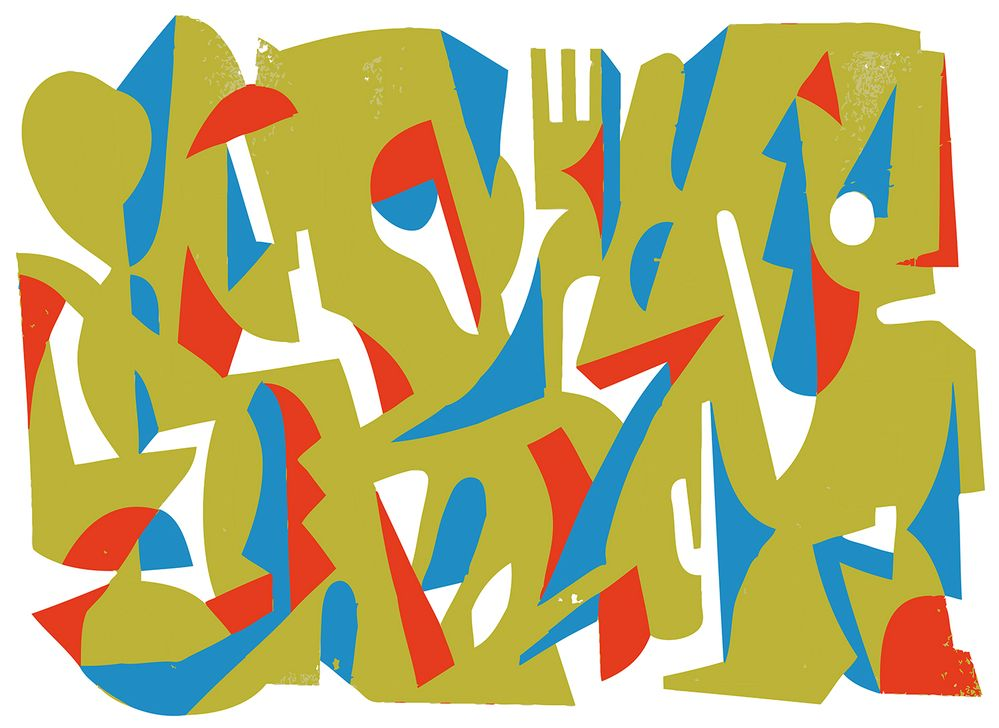 6. Délimiter les nouvelles zones à peindre avec la troisième couleur en répétant les actions de l'étape précédente. Peindre les zones avec le spray de peinture Montana Gold Acrylic coloris Sky Blue. Laisser sécher. Retirer le ruban de masquage et les feuilles de protection.